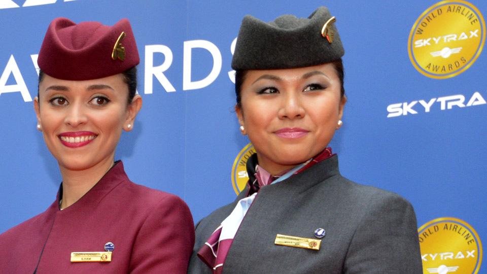 tripulación de cabina de qatar airways