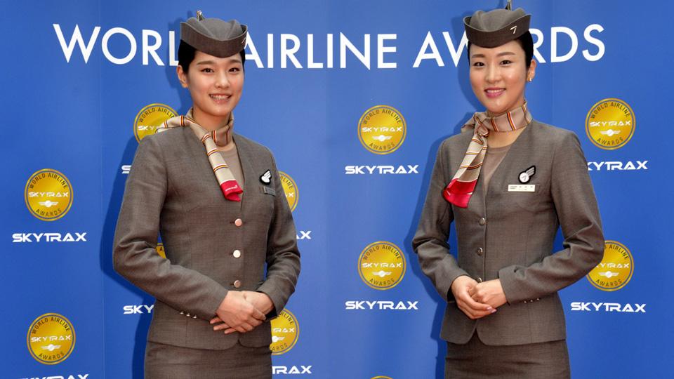 韩亚航空乘务员在2015年奖